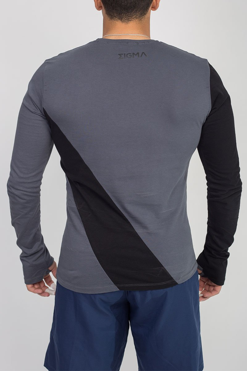 MEN'S LONG SLEEVE THUMB HOLE T-SHIRT (GRAY) - Sigma Fit US