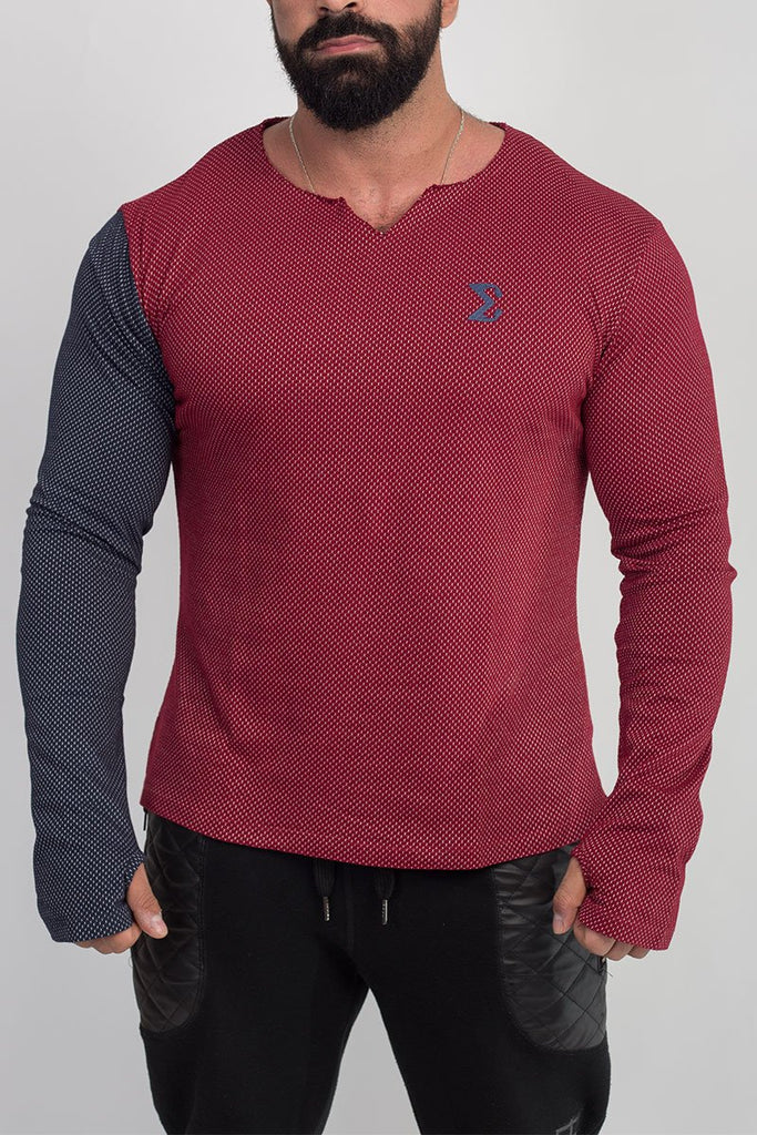 MEN'S LONG SLEEVE UNSEWN T-SHIRT (RED WITH NAVY BLUE ARM) - Sigma Fit US