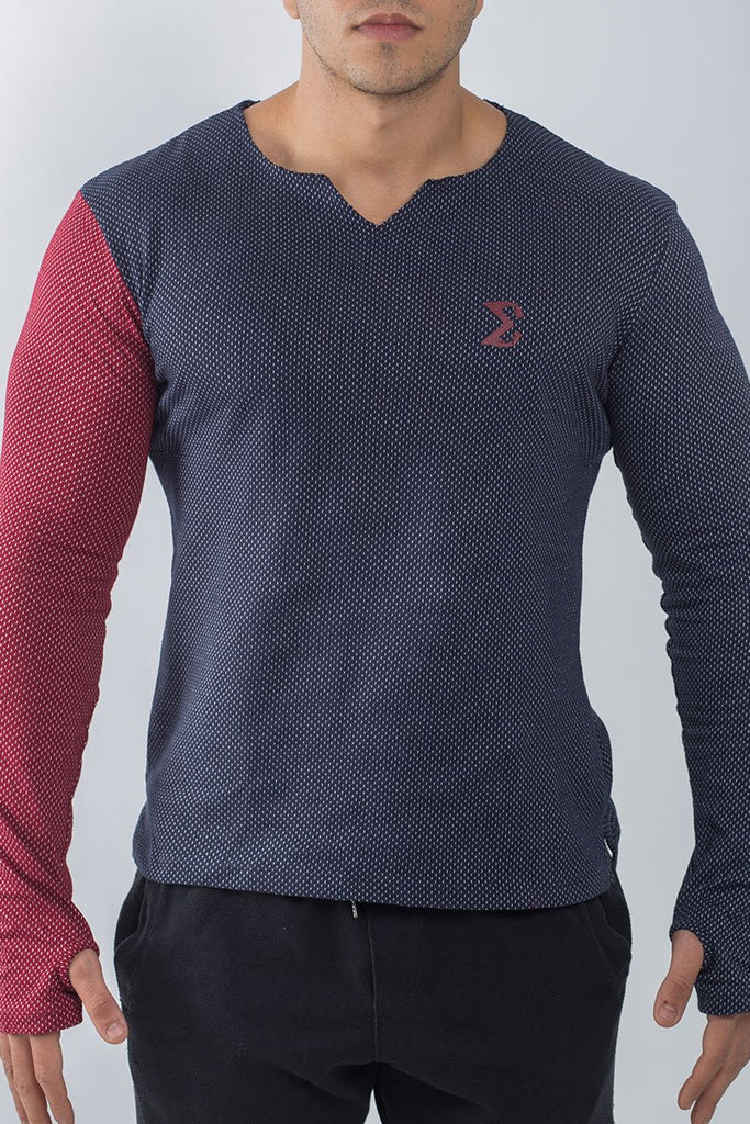 MEN'S LONG SLEEVE UNSEWN T-SHIRT (NAVY BLUE WITH RED ARM) - Sigma Fit US