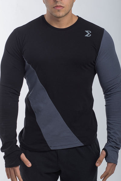 MEN'S LONG SLEEVE THUMB HOLE T-SHIRT (BLACK) - Sigma Fit US