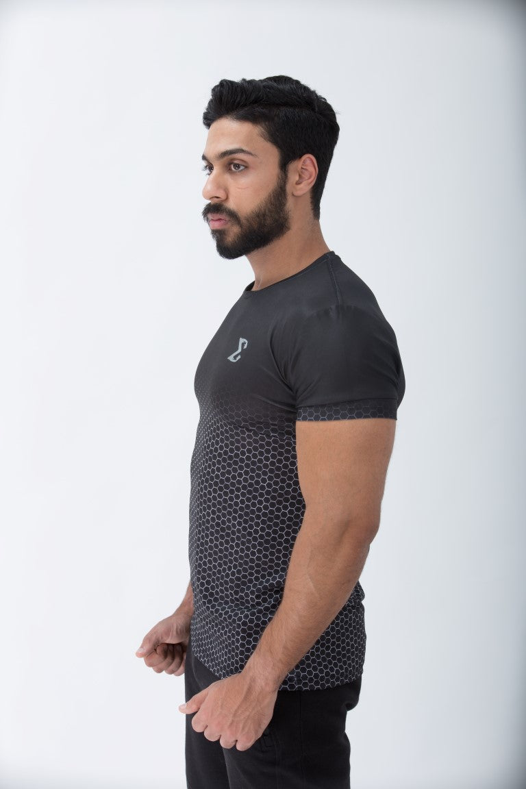 Black Honeycomb Compression T-shirt - Sigma Fit US