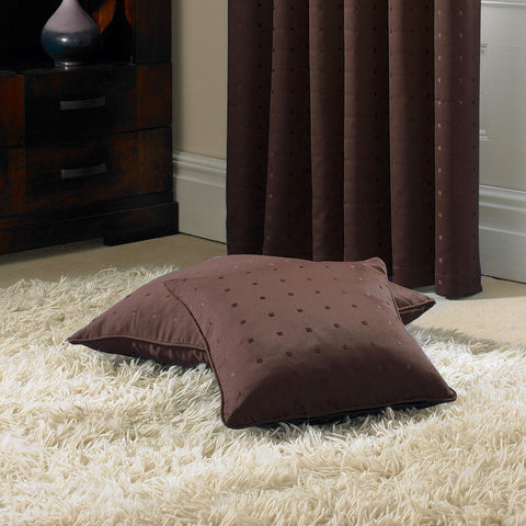 Chocolate Brown Jacquard Cushion Cover with Woven Square Pattern in Faux Silk