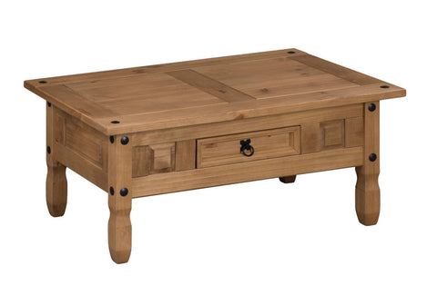 Corona Discount Mexican Pine Coffee Table With Drawer by Mercers Furniture