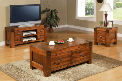 Coffee Table Two Drawers Antique Brown Solid Acacia - Assembled