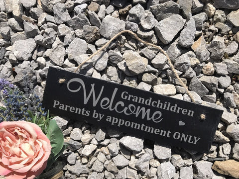 Exclusive Engraved Funny Home Decor Accessory Grandchildren Welcome Sign Plaque