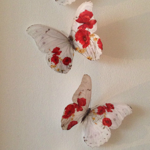 4 Red Poppy Flower Butterflies Butterfly Table Wedding Bedroom Home Accessories