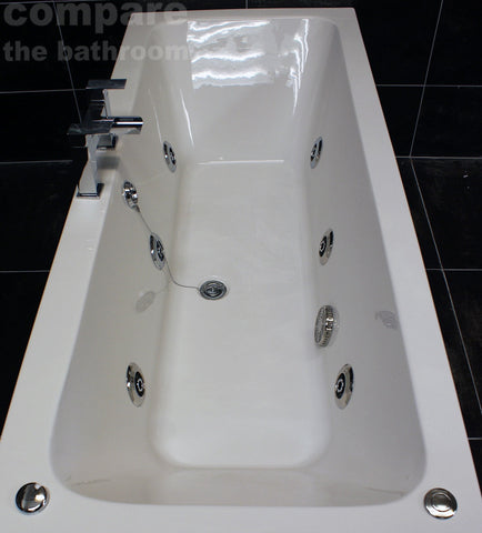 1800 x 800mm Double Ended Square Whirlpool Bath + 6 Jet Spa Whirlpool Jacuzzi