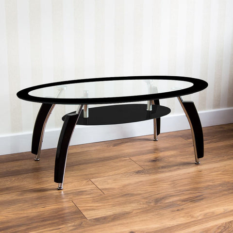 Elena Coffee Table Black Oval Glass Shelf Modern Furniture New By Home Discount