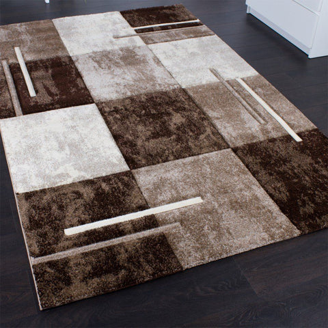 Brown Designer Rug Carpet Small Extra Large Modern Checked Rugs Marble Look Rug