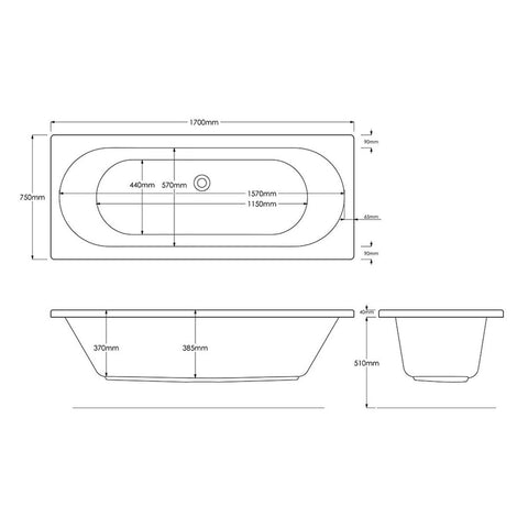 1700 X 750mm 12 JET | WHIRLPOOL | SPA |DOUBLE ENDED BATH |