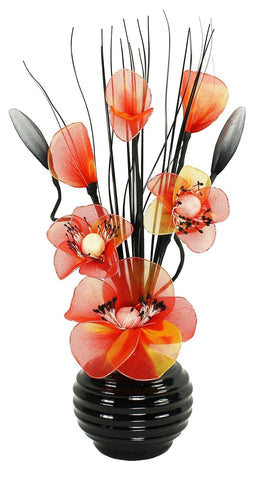 Orange Nylon Flower in Black Vase Table Decorations Home Accessories Moms Gift