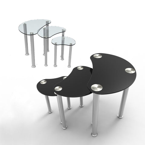BLACK/CLEAR GLASS NEST OF 3 COFFEE TABLE SIDE END TABLE LIVING ROOM FURNITURE