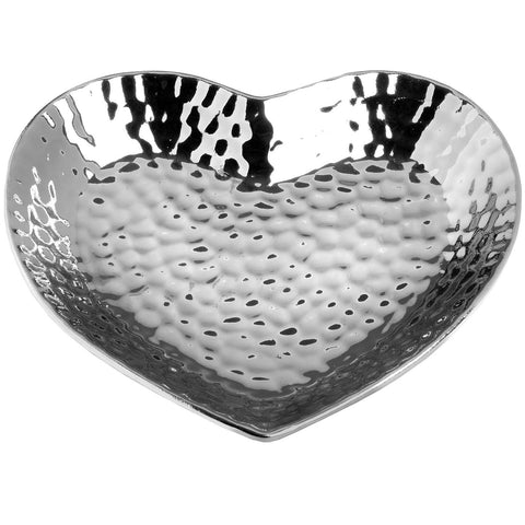 Silver Dimpled Ceramic Heart Home Accessory Jewellery Candle Holder Plate Dish