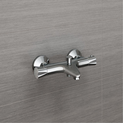 Thermostatic Shower Mixer Valve Bar Exposed Chrome Round Modern Bath Filler