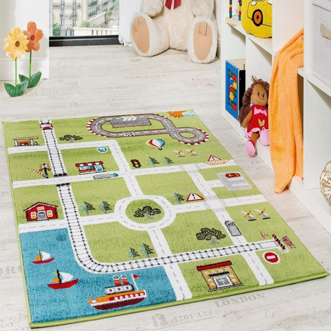 Childrens Rug Road Cars Modern Design Multi Area Carpet Kids Bedroom Playmats
