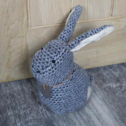 Grey fabric rabbit weighted door stop shabby vintage chic home accessories gift