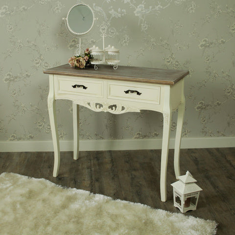 2 drawer console table ornate painted dressing table shabby chic bedroom home