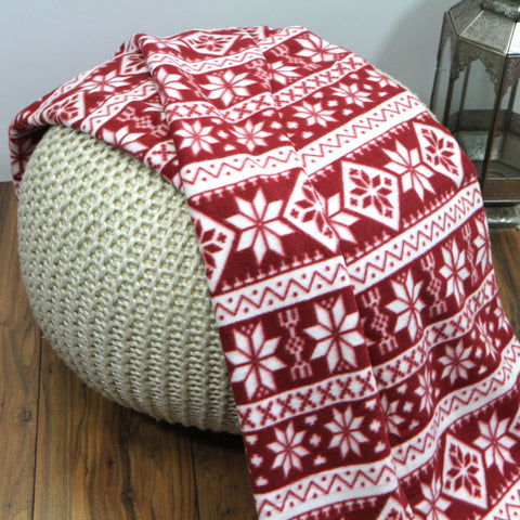 Luxury Christmas  Soft Nordic Snowflakes Fleece Throw Blanket-150x200cm