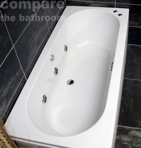 1700 × 750mm Double Ended Center Tap Hole Whirlpool Bath Reinforced Made in UK