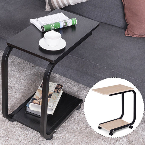 Mobile Coffee Tray Sofa Bed Side Table Couch Room Console Stand End