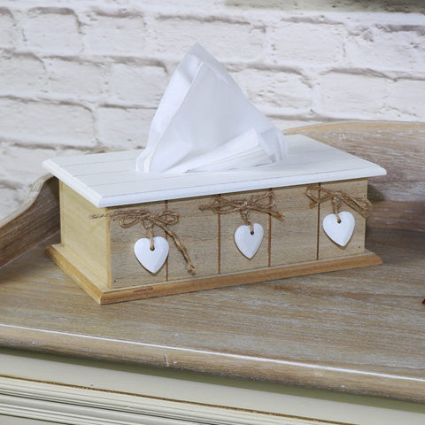 white natural wooden heart tissue box holder kitchen living room home accessory
