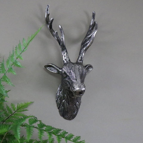Silver metal wall mounted replica stag head shabby country chic wall art gift