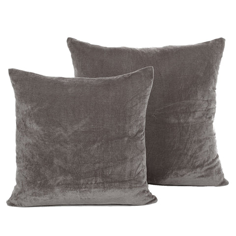 Luxury Grey Velvet Cushion - Soft Modern Scatter Large & Small Cushion Covers