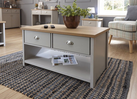 Grey and Oak 2 Drawer Coffee Table with shelf Lancaster Range