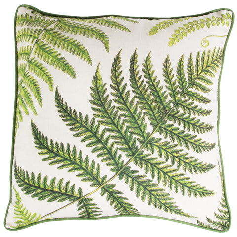 Classic & Stylish Fern Printed Cushion with Inner – Living Room - Green