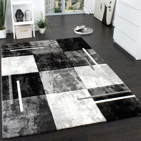 Modern Rug Small Large Mats Geometric Check Design Soft Grey Black Quality Mats