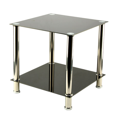 lass & Stainless Steel Small Display Stand Side Lamp Coffee Table