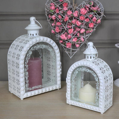 Pair of ornate white arched candle lanterns shabby vintage chic home wedding