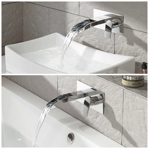 Waterfall Wall Mounted Modern Chrome Lever Mixer Basin & Bath Tub Filler Tap