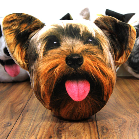 Novelty Soft Yorkshire Terrier Face Dog Cushion with Ears- Sofa Couch Bed Décor