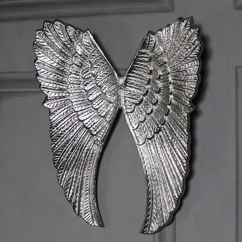 Silver metal angel wings vintage shabby ornate chic wall art home gift accessory