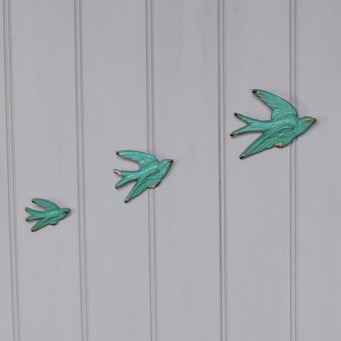 Set 3 flying swallow birds duck egg blue wall art decoration shabby vintage chic