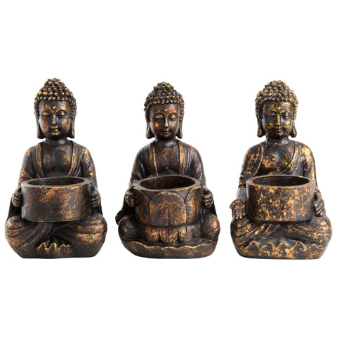 Set of 3 Buddha Home Tealight Holders Decorative Home Accessory Ornaments
