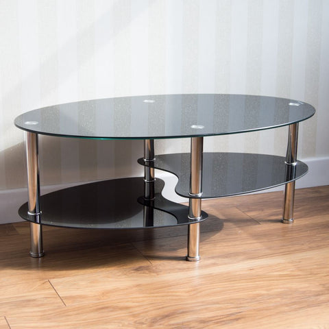 Cara Black Glass Chrome Coffee Table 2 Tier New