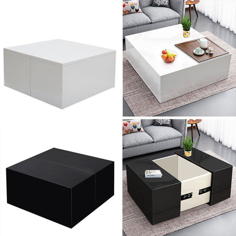 High Gloss White Coffee Table Square Cube Storage Unit Contemporary Furniture UK