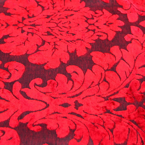 Luxury Damask Velvet Red Cushions - Soft Scatter Small & Large Cushion Cover