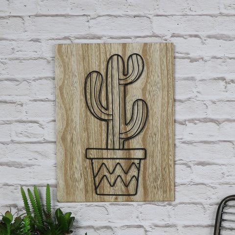 Fun 3D wire cactus wooden wall plaque vintage industrial chic wall art home gift