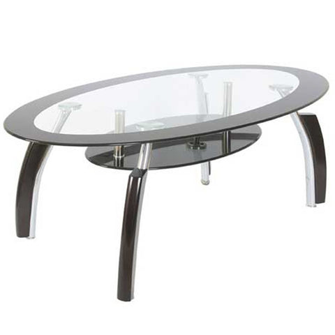 Elena Coffee Table Clear & Black Oval Modern Glass Storage Unit Living Room