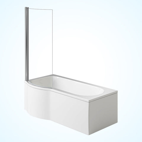 1700mm P Shaped Whirlpool Bath Left Hand with Shower Screen Model: ROME