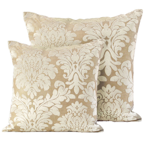 Luxury Damask Velvet Cream Cushions - Soft Scatter Small & Large Cushion Cover