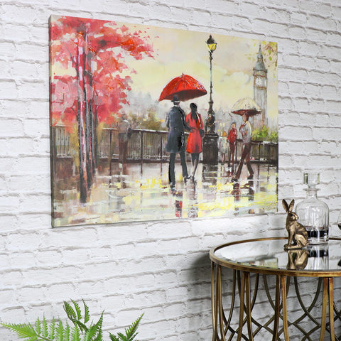 Large oil painting canvas wall art rainy day in London street scene artwork