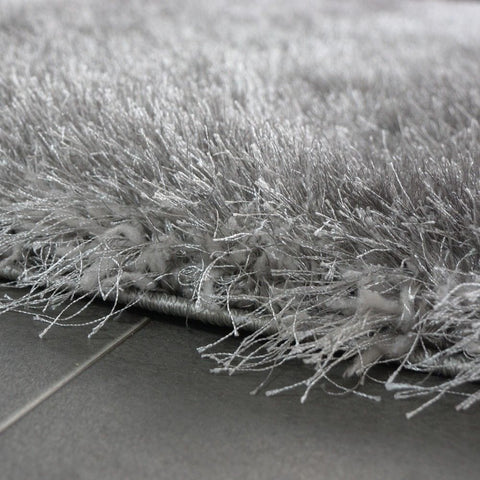 Soft Shaggy Thick Plain Rug Non Shed 7cm Long Pile Shag Grey Modern Carpet Mats