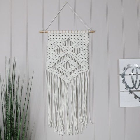 White Macramé Boho Banner Wall Decoration girly bedroom gift wall art decor