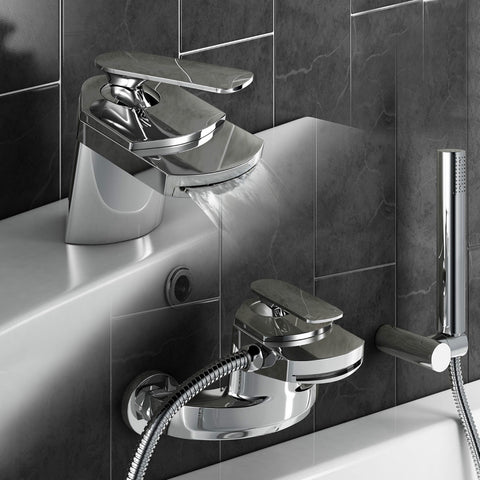 Waterfall Bathroom Tap Mono Basin Mixer Bath Filler Tap Shower Chrome Tap Sets