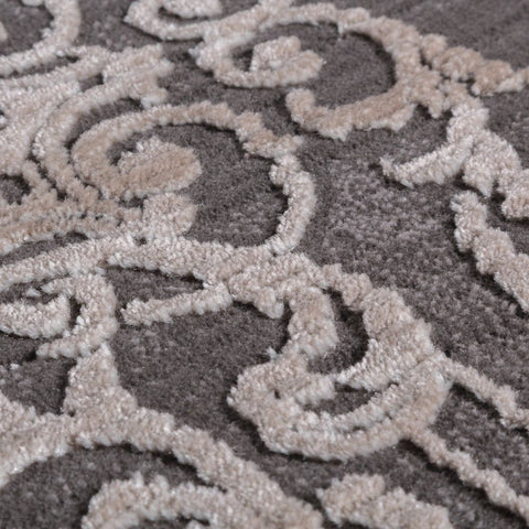 Modern Rug 3D Floral Art Floor Rugs Victorian Carpets Grey Small Extra Large Mat