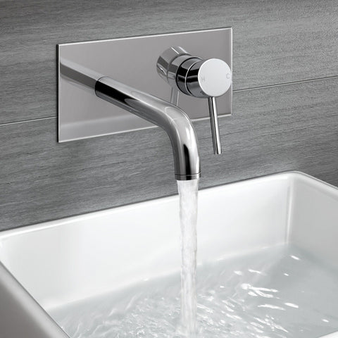 Gladstone Wall Mounted Modern Chrome Lever Mixer Basin Tap Bathroom TB3207